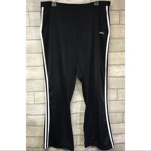 Adidas black white striped silky athletic pants XL
